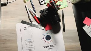 Storytelling Notes with camera on top of papers.